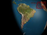 South America with bump mapping